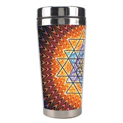 Cosmik Triangle Space Rainbow Light Blue Gold Orange Stainless Steel Travel Tumblers by Mariart