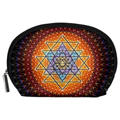Cosmik Triangle Space Rainbow Light Blue Gold Orange Accessory Pouches (large)  by Mariart