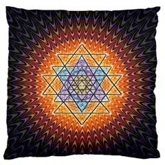 Cosmik Triangle Space Rainbow Light Blue Gold Orange Large Flano Cushion Case (one Side) by Mariart