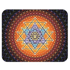 Cosmik Triangle Space Rainbow Light Blue Gold Orange Double Sided Flano Blanket (medium)  by Mariart