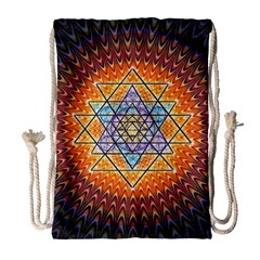 Cosmik Triangle Space Rainbow Light Blue Gold Orange Drawstring Bag (large) by Mariart