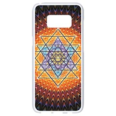 Cosmik Triangle Space Rainbow Light Blue Gold Orange Samsung Galaxy S8 White Seamless Case by Mariart