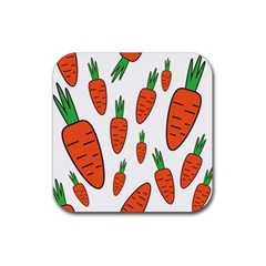 Fruit Vegetable Carrots Rubber Coaster (square)  by Mariart