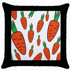 Fruit Vegetable Carrots Throw Pillow Case (black) by Mariart