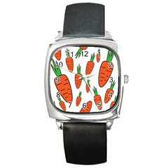 Fruit Vegetable Carrots Square Metal Watch by Mariart