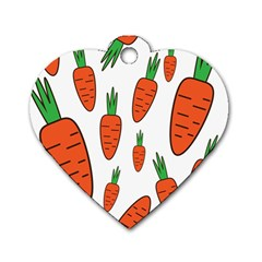Fruit Vegetable Carrots Dog Tag Heart (one Side) by Mariart