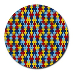 Fuzzle Red Blue Yellow Colorful Round Mousepads by Mariart