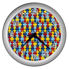 Fuzzle Red Blue Yellow Colorful Wall Clocks (silver)  by Mariart
