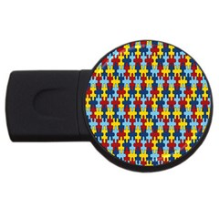 Fuzzle Red Blue Yellow Colorful Usb Flash Drive Round (4 Gb)