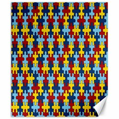 Fuzzle Red Blue Yellow Colorful Canvas 8  X 10