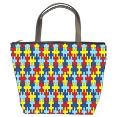 Fuzzle Red Blue Yellow Colorful Bucket Bags by Mariart