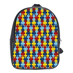 Fuzzle Red Blue Yellow Colorful School Bag (large)