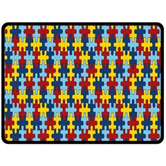 Fuzzle Red Blue Yellow Colorful Fleece Blanket (large)  by Mariart