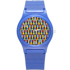 Fuzzle Red Blue Yellow Colorful Round Plastic Sport Watch (s) by Mariart