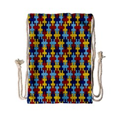Fuzzle Red Blue Yellow Colorful Drawstring Bag (small) by Mariart