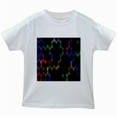 Grid Light Colorful Bright Ultra Kids White T Shirts by Mariart