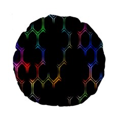 Grid Light Colorful Bright Ultra Standard 15  Premium Round Cushions by Mariart