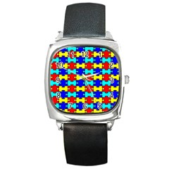 Game Puzzle Square Metal Watch by Mariart