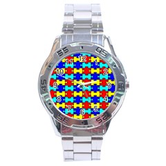 Game Puzzle Stainless Steel Analogue Watch by Mariart