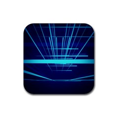 Grid Structure Blue Line Rubber Square Coaster (4 Pack)  by Mariart