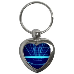 Grid Structure Blue Line Key Chains (heart)  by Mariart