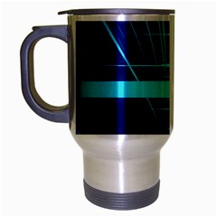 Grid Structure Blue Line Travel Mug (silver Gray)