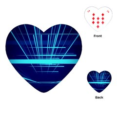 Grid Structure Blue Line Playing Cards (heart)  by Mariart