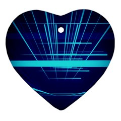 Grid Structure Blue Line Heart Ornament (two Sides) by Mariart