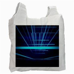 Grid Structure Blue Line Recycle Bag (one Side) by Mariart