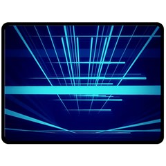 Grid Structure Blue Line Fleece Blanket (large)  by Mariart