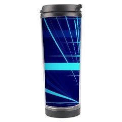 Grid Structure Blue Line Travel Tumbler by Mariart