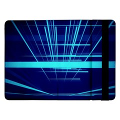 Grid Structure Blue Line Samsung Galaxy Tab Pro 12 2  Flip Case by Mariart