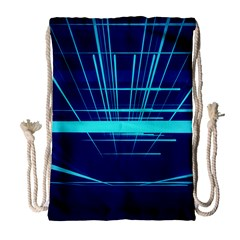 Grid Structure Blue Line Drawstring Bag (large) by Mariart