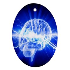 Lightning Brain Blue Ornament (oval) by Mariart