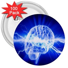 Lightning Brain Blue 3  Buttons (100 Pack)  by Mariart