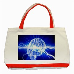 Lightning Brain Blue Classic Tote Bag (red) by Mariart