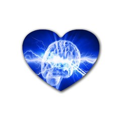 Lightning Brain Blue Heart Coaster (4 Pack)  by Mariart