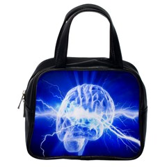 Lightning Brain Blue Classic Handbags (one Side) by Mariart