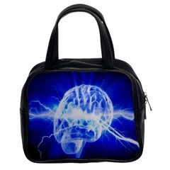 Lightning Brain Blue Classic Handbags (2 Sides) by Mariart