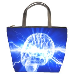 Lightning Brain Blue Bucket Bags by Mariart