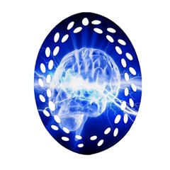 Lightning Brain Blue Oval Filigree Ornament (two Sides) by Mariart
