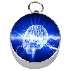 Lightning Brain Blue Silver Compasses by Mariart