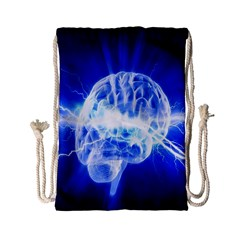 Lightning Brain Blue Drawstring Bag (small) by Mariart