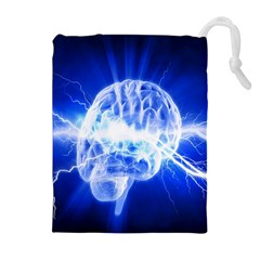 Lightning Brain Blue Drawstring Pouches (extra Large) by Mariart