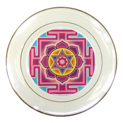 Kali Yantra Inverted Rainbow Porcelain Plates by Mariart