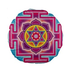 Kali Yantra Inverted Rainbow Standard 15  Premium Flano Round Cushions by Mariart