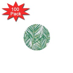 Jungle Fever Green Leaves 1  Mini Buttons (100 Pack)  by Mariart