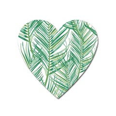 Jungle Fever Green Leaves Heart Magnet by Mariart