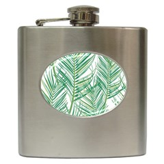 Jungle Fever Green Leaves Hip Flask (6 Oz) by Mariart