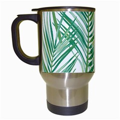 Jungle Fever Green Leaves Travel Mugs (white) by Mariart